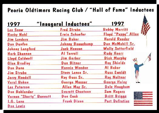 Dan Tobin Chevrolet >> Peoria Oldtimers Racing Club - Hall of Fame Inductees
